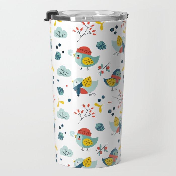 winter birds pattern Travel Mug
