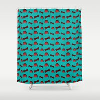 fez Shower Curtains featuring Red Fez & Bow Tie (on teal green) by Bohemian Bear by Kristi Duggins