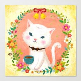 A cat who drinks tea Canvas Print