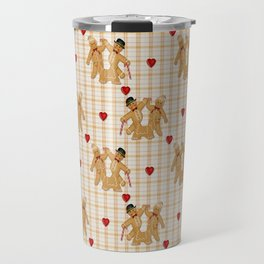 Gingerbread Family Country Plaid Christmas Travel Mug