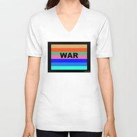 war V-neck T-shirts featuring WAR by Tillus