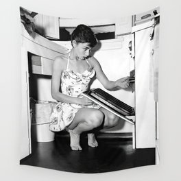 Audrey Hepburn in Kitchen, Black and White Vintage Art Wall Tapestry