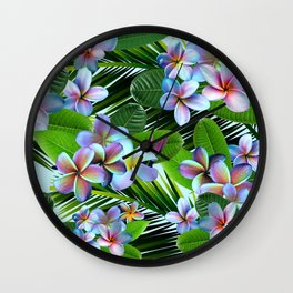 Rainbow Plumeria with Palm Fronds Wall Clock