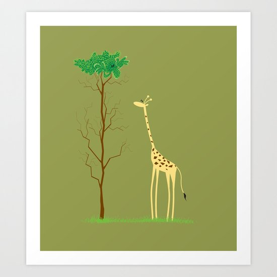 tree v giraffe Art Print