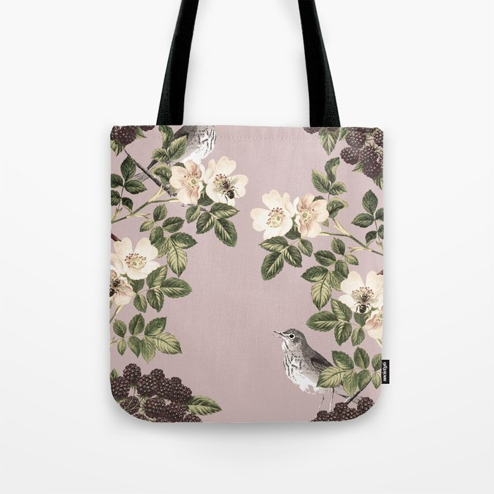 c15c018442 Birds and the Bees Pink Berry Tote Bag by naturemagick