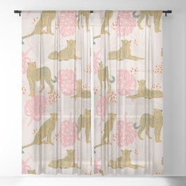 Pink Palm Tropical Cheetah Pattern Sheer Curtain