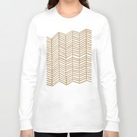 herringbone Long Sleeve T-shirts featuring Kraft Herringbone by Cat Coquillette