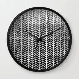 Herringbone & Teak (Black & White) Wall Clock