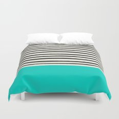 Aqua & Stripes Duvet Cover