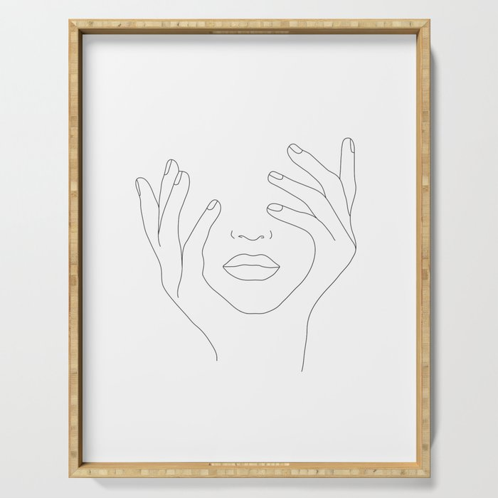 Minimal Line Art Woman With Hands On Face Serving Tray By Nadja1