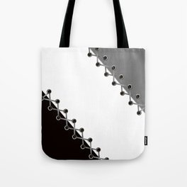 Lacing . Black , white and grey . Tote Bag