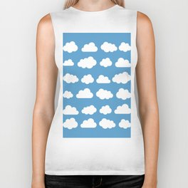 White clouds on a blue skies Biker Tank