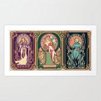 nouveau Art Prints featuring Nintendo Nouveau (art print) by Megan Lara