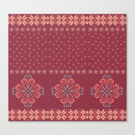 Christmas knitted pattern Canvas Print