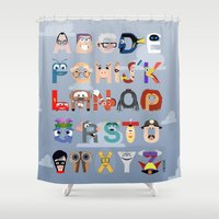 pixar Shower Curtains featuring P is for Pixar (Pixar Alphabet) by Mike Boon