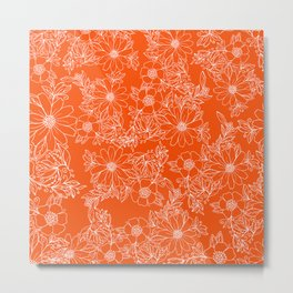 Hand drawn white bright orange modern floral Metal Print