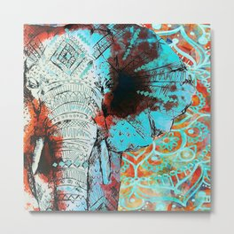 Indian Sketch Elephant Blue Orange Metal Print