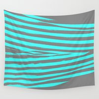 stripes Wall Tapestries featuring Aqua & Gray Stripes by 2sweet4words Designs