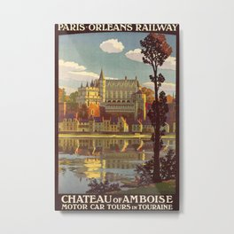 Chateau of Amboise Vintage Travel Poster Metal Print