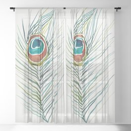 Peacock Tail Feather – Watercolor Sheer Curtain