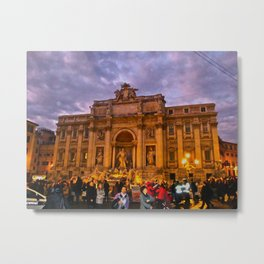 Trevi Fountain at dusk Metal Print