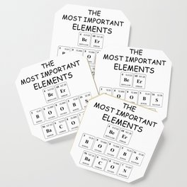 The Most Important Elements - Beer Boobs Bacon Illustration Coaster