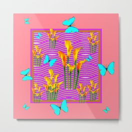 Pink Coral-Purple Blue Butterfly Lily Art Metal Print
