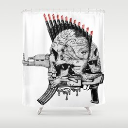 she's not afraid the terror.. the terror is she... Shower Curtain