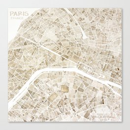 Paris France watercolor  city map Canvas Print