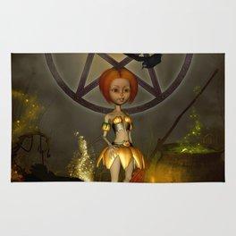 Halloween design with pumpkin,crow and little girl Rug