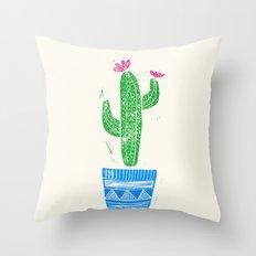 Linocut Cacti #2 in a pot Throw Pillow