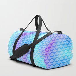 Mint Blue Mermaid Tail Abstraction. Cool Fish Scale Pattern Duffle Bag