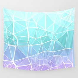 Cyan, Turquoise, and Purple Triangles Wall Tapestry