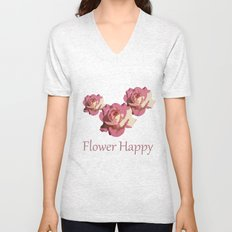 Pretty pink rose garden flower. Floral nature photography.   Unisex V-Neck