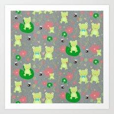 Froggie Friends Forever Art Print