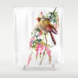 Cardinal Bird Earth Green Olive green Pink Shower Curtain