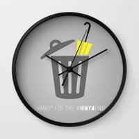 himym Wall Clocks featuring Thanks for this HIMYMfinal by Violet's Corner