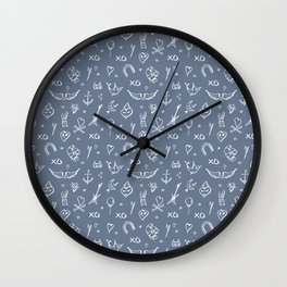 Tatoo Rock / Navy & white Wall Clock