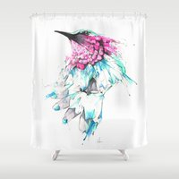 hummingbird Shower Curtains featuring Hummingbird by Alexis Marcou