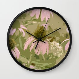Field of Pink Flowers Wall Clock