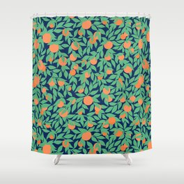 Oranges and Leaves Pattern - Navy Blue Shower Curtain