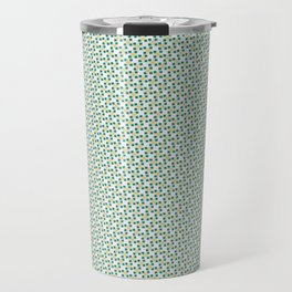 Small Turquoise Boxes and Gold Lines Travel Mug