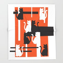 Cat in De Stijl - Halloween Edition Throw Blanket