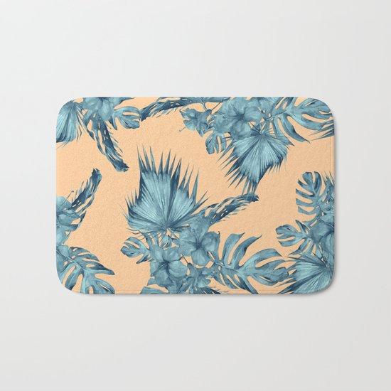 Island Love Hibiscus Palm Orange Teal Blue Bath Mat