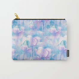 Pink flowers on blue background / Watercolor. Carry-All Pouch