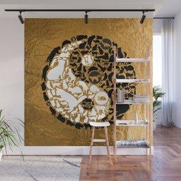 Yin-Yang Cats - Gold Wall Mural