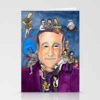 robin williams Stationery Cards featuring Robin Williams  by Aviva Bubis Art and Stuff