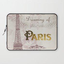 Paris Eiffel Tower French Script Blush Pink Montage Laptop Sleeve
