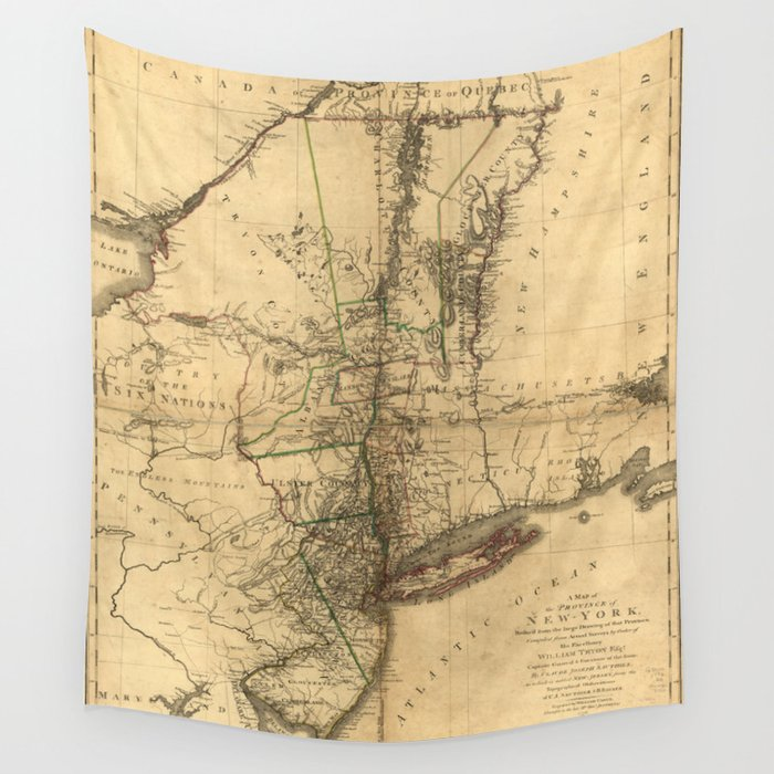 Map Of New York 1776.Map Of The Province Of New York By William Faden 1776 Wall Tapestry