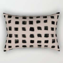 Polka Strokes - Black on Nude Rectangular Pillow